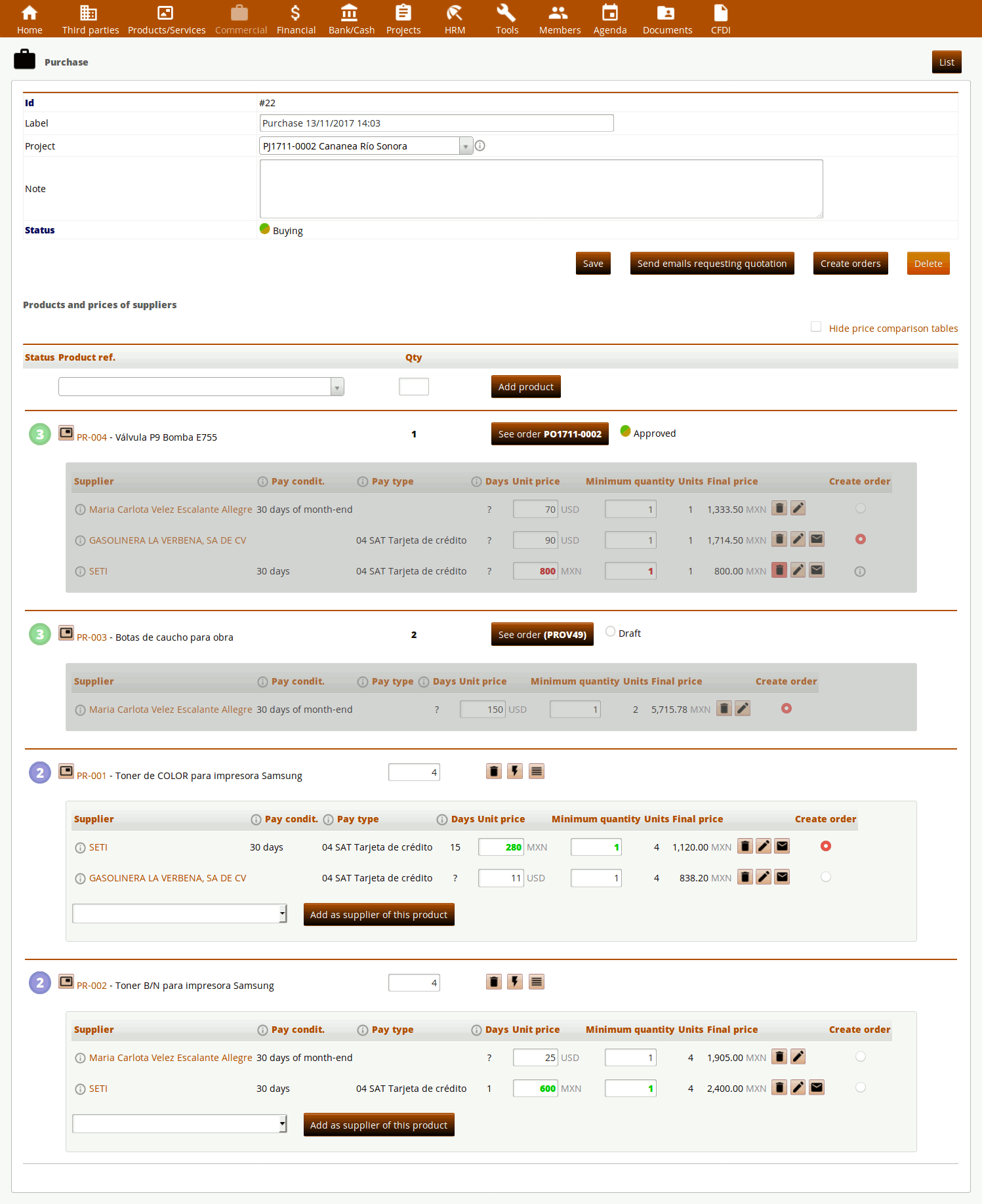 User guide of module Purchases for ERP Dolibarr :: I + D WEB