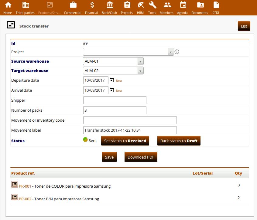 User guide of module Stock transfers for ERP Dolibarr :: I +